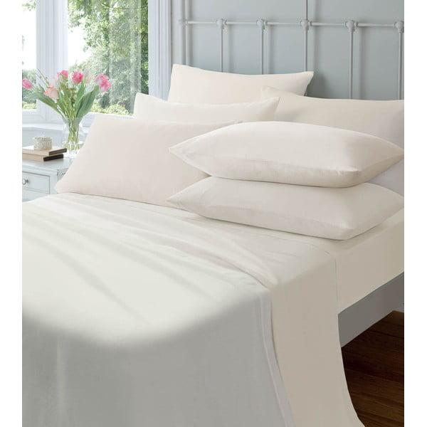 Prześcieradło elastyczne Plain Flette Cream, 150x200 cm