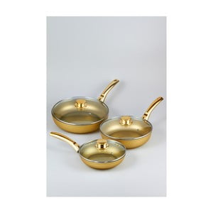 Zestaw 3 patelni z pokrywkami Bisetti Stonegold Gold Handles