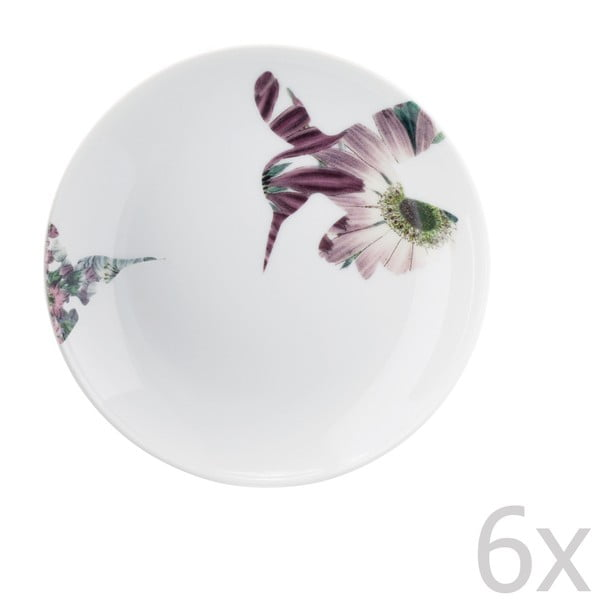 Zestaw 6 porcelanowych talerzyków deserowych Flutter, 14 cm