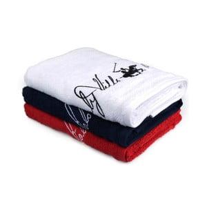 Zestaw 3 białego, granatowego i czerwonego ręcznika Beverly Hills Polo Club Tommy Yazi, 50 x100 cm