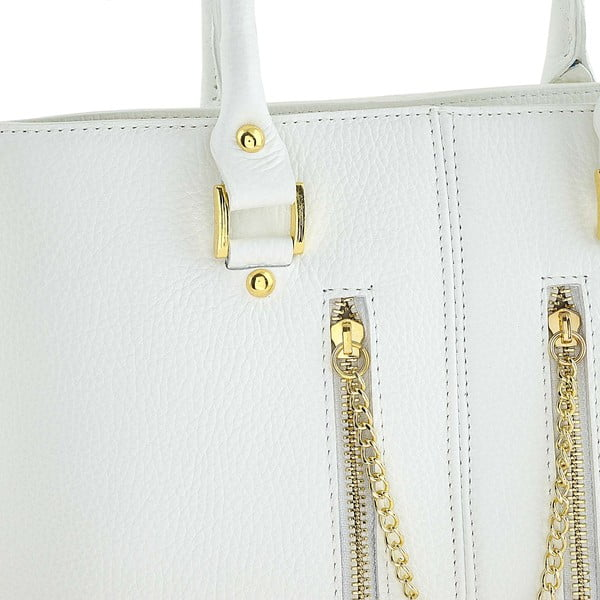 Skórzana torebka Bis White