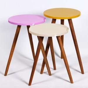 Zestaw 3 stolików Kate Louise Round (kremowy, różowy, żółty)