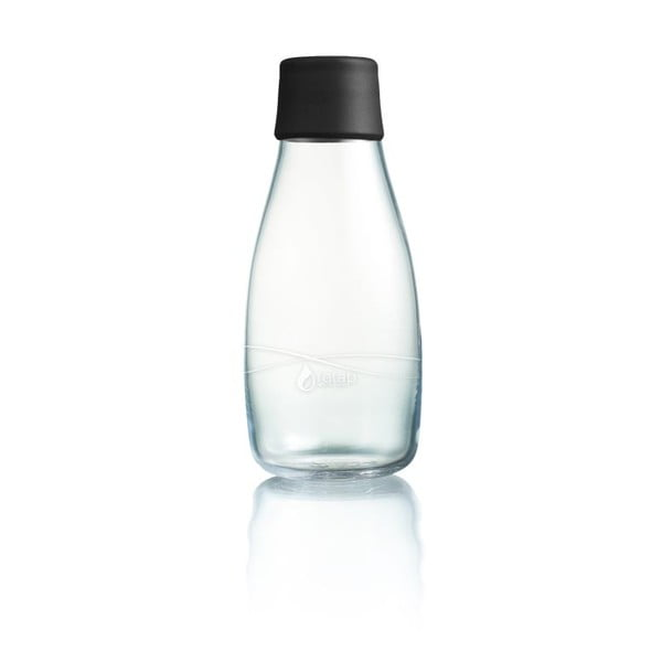 Czarna butelka ze szkła ReTap z dożywotnią gwarancją, 300 ml