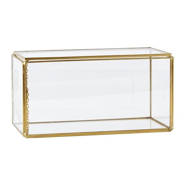 Szklana skrzynka KJ Collection Antique Brass, dł. 10,5 cm