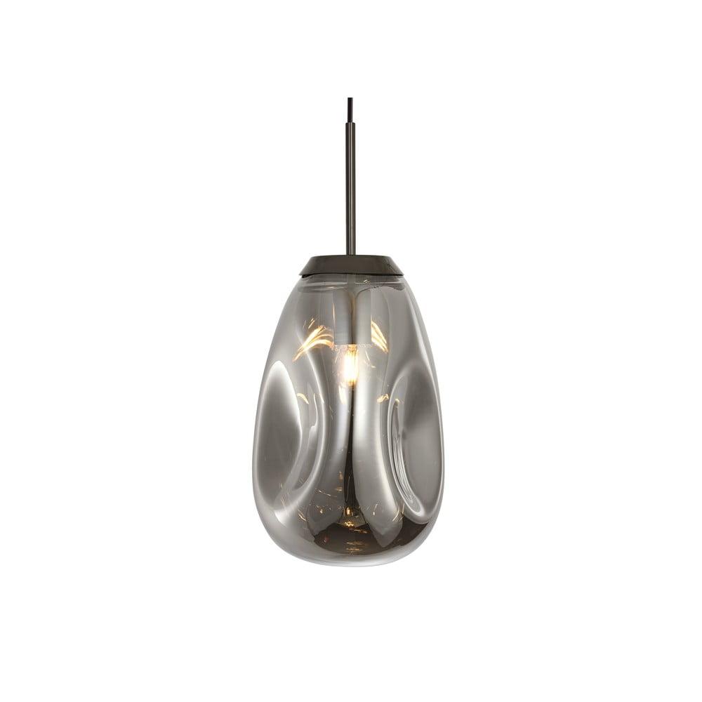 Lampa wisząca z dmuchanego szkła w szarym kolorze Leitmotiv Pendulum, wys. 33 cm