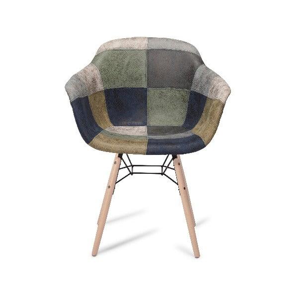 Szare krzesło z nogami z drewna bukowego Furnhouse Flame Patch
