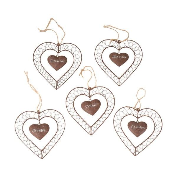 Zestaw 5 dekoracji wiszących Heart