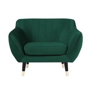 Zielony fotel z czarnymi nogami Mazzini Sofas Benito