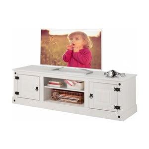 Biała szafka pod TV z drewna sosnowego Støraa Alfredo