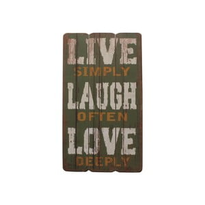 Tablica Live, Laugh, Love, 60x30 cm