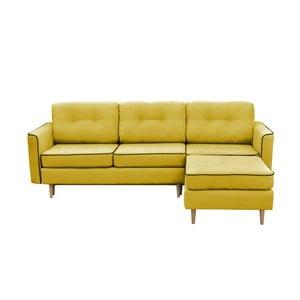 Żółty narożnik rozkładany z jasnymi nogami Mazzini Sofas Ladybird, prawostronny