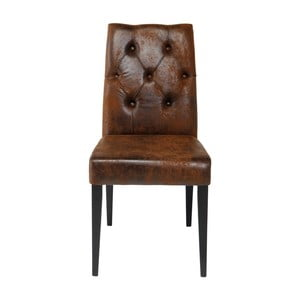 Brązowe krzesło Kare Design Casual Buttons