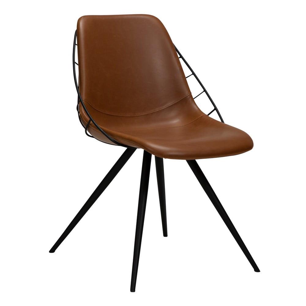 Brązowe krzesło z imitacji skóry DAN-FORM Denmark Sway