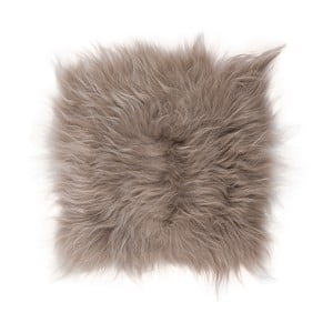 Brązowo-szara poduszka futrzana do siedzenia z długim włosiem, 37x37 cm