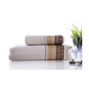 Zestaw 2 ręczników Golf Cream, 70x140 i 50x90 cm