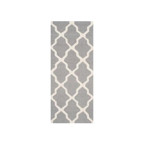 Dywan wełniany Ava Light Grey, 76x182 cm
