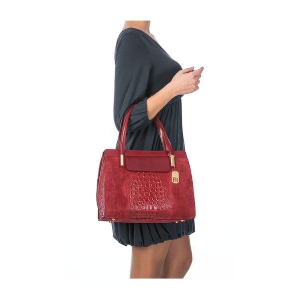 Skórzana torebka Croco Red