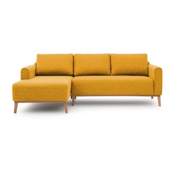 Musztardowa lewostronna sofa narożna Vivonita Milton