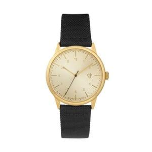 Zegarek z czarnym paskiem i z cyferblatem w złotej barwie CHPO Rawiya Classic