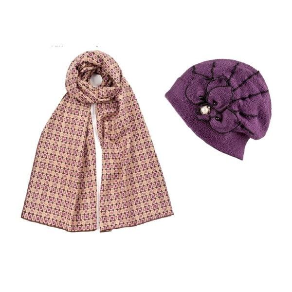 Czapka i szalik Purple Elegant