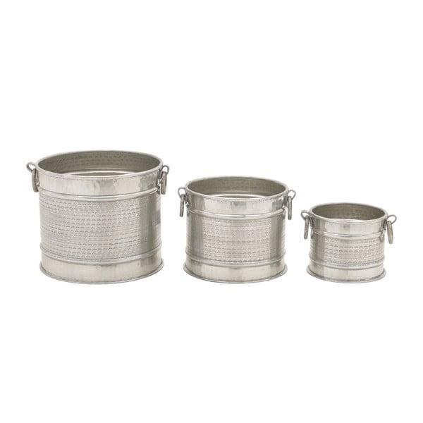 Zestaw 3 aluminiowych doniczek InArt Eleni