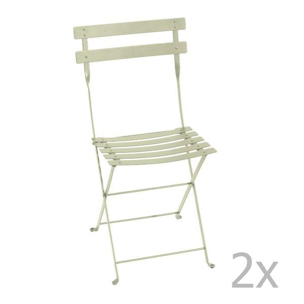Zestaw 2 jasnozielonych krzeseł składanych Fermob Bistro