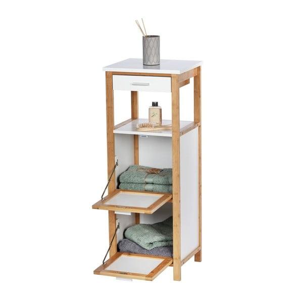 Bambusowy regał łazienkowy z 2 półkami i schowkiem Wenko Finja