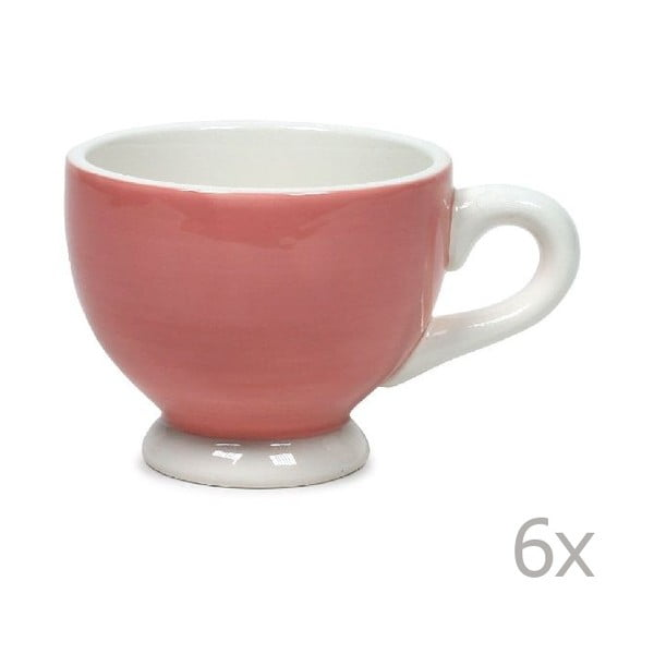 Zestaw 6 kubków Puck 200 ml, różowy
