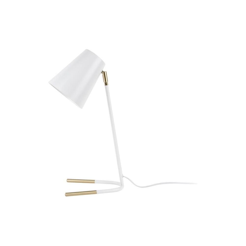 Biała lampa stołowa z detalami w kolorze złota Leitmotiv Noble