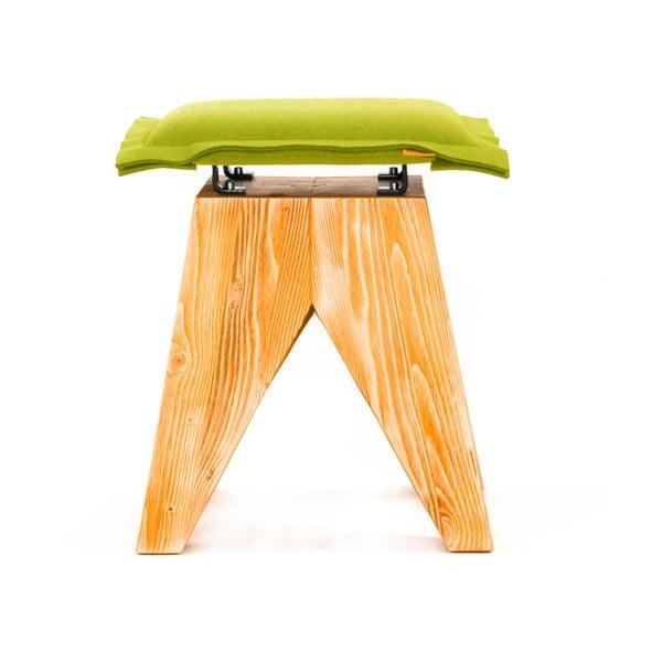 Drewniany stołek Low, zielony