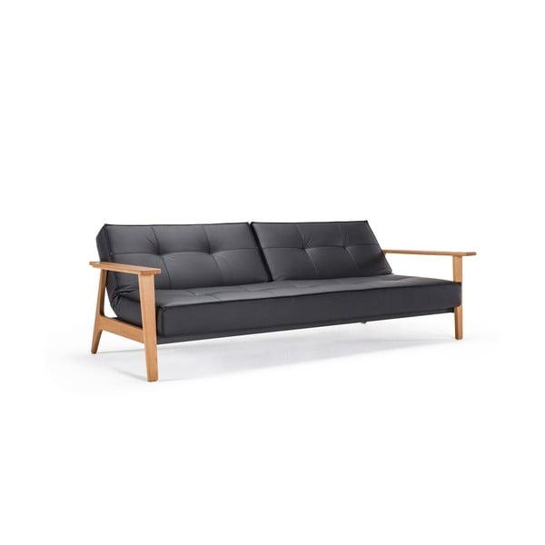 Czarna sofa rozkładana z podłokietnikami Innovation Splitback Frej