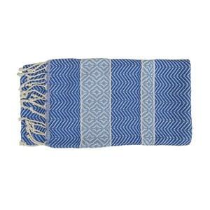 Niebieski ręcznie tkany ręcznik z bawełny premium Basak,100x180 cm