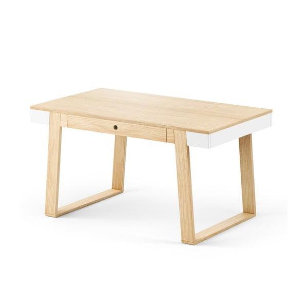Stół dębowy z białymi szczegółami Absynth Magh, 140x80 cm
