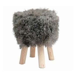 Stołek obity ciemnoszarą skórą Sheepo