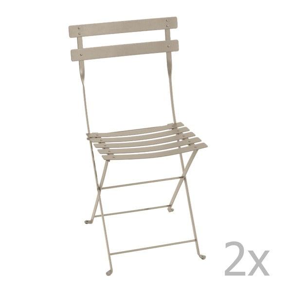 Zestaw 2 jasnobeżowych krzeseł składanych Fermob Bistro