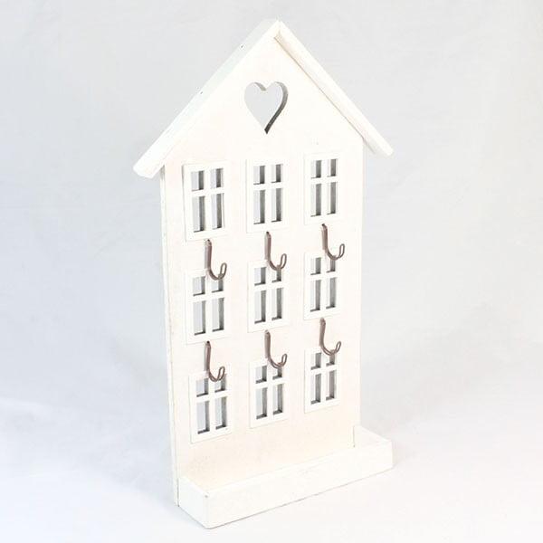 Drewniany wieszak Biały domek