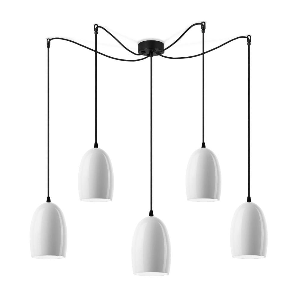 Biała lampa wisząca z połyskiem s pěti stínidly z czarnym kablem Sotto Luce Ume
