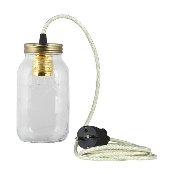 Lampa JamJar Lights, zielono-biały okrągły kabel