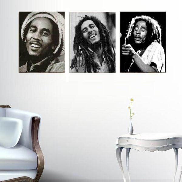 Trzyczęściowy obraz Bob Marley, 45x90 cm