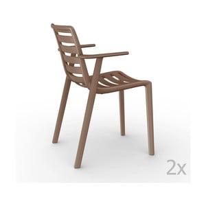 Zestaw 2 brązowych krzeseł ogrodowych z podłokietnikami Resol Slatkat