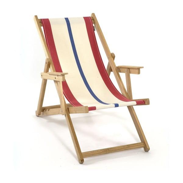 Leżak składany Beach, niebiesko-czerwone paski