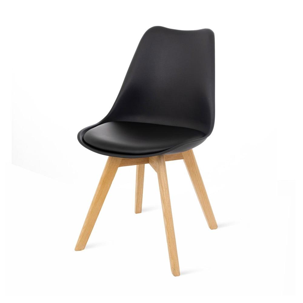 Zestaw 2 czarnych krzeseł z bukowymi nogami loomi.design Retro