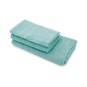 Komplet dwóch tyrkysových ręczników i ręcznika kąpielowego Jalouse Maison Duro Turquoise