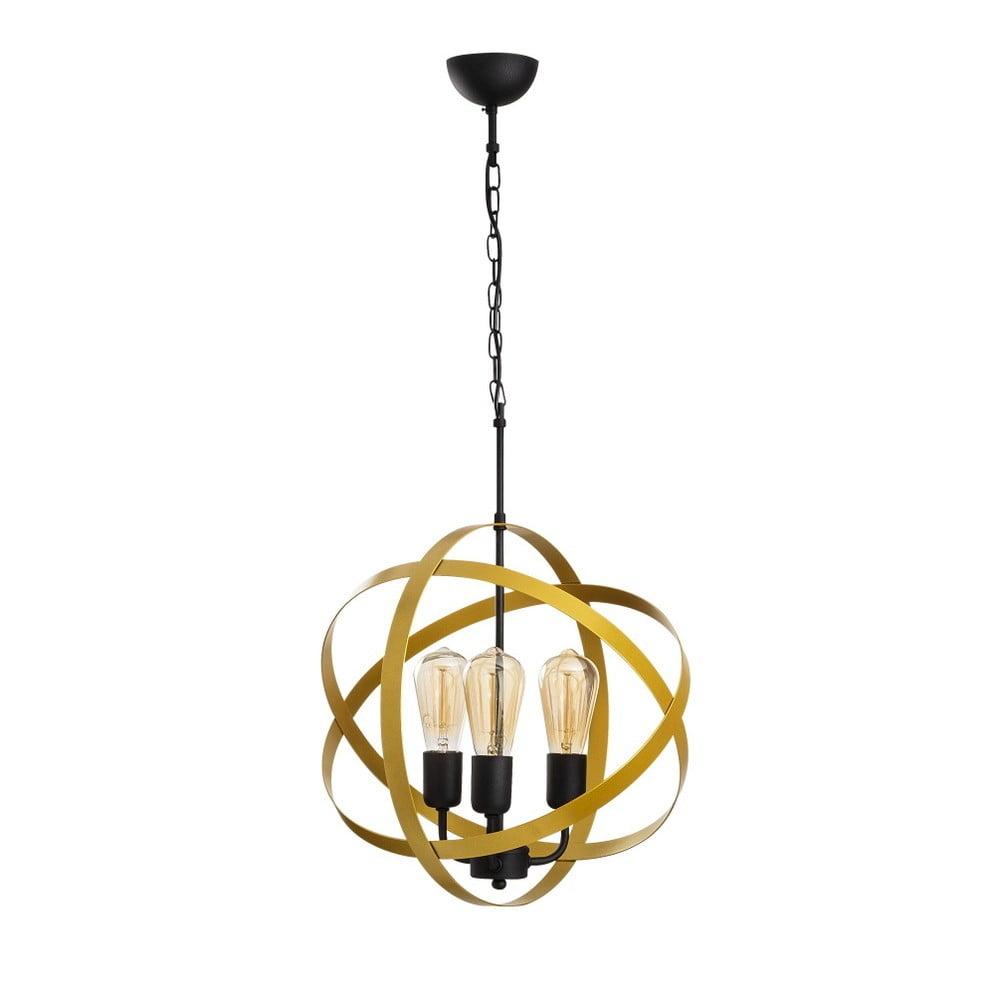 Czarna metalowa lampa wisząca w złotym kolorze Opviq lights Irina