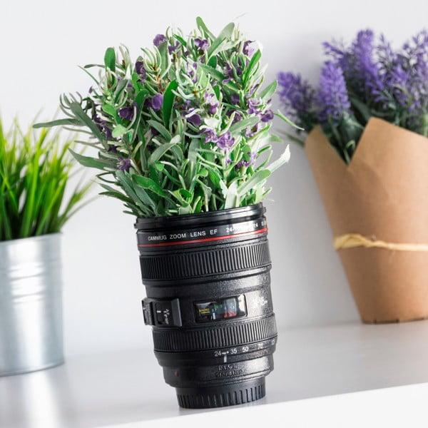 Czarny wielofunkcyjny kubek termiczny InnovaGoods Lens, 400 ml