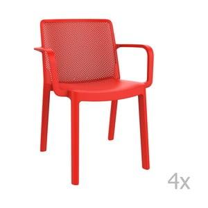 Zestaw 4 czerwonych krzeseł ogrodowych z podłokietnikami Resol Fresh