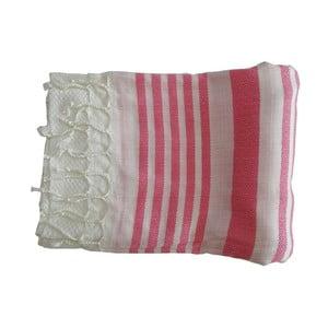 Różowo-biały ręcznie tkany ręcznik z bawełny premium Petek,100x180 cm