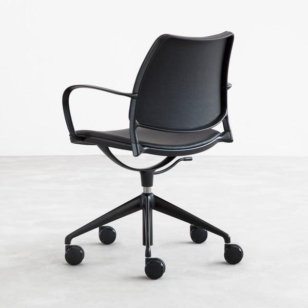 Krzesło na kółeczkach Gas Swivel, czarna skóra/czarne nogi