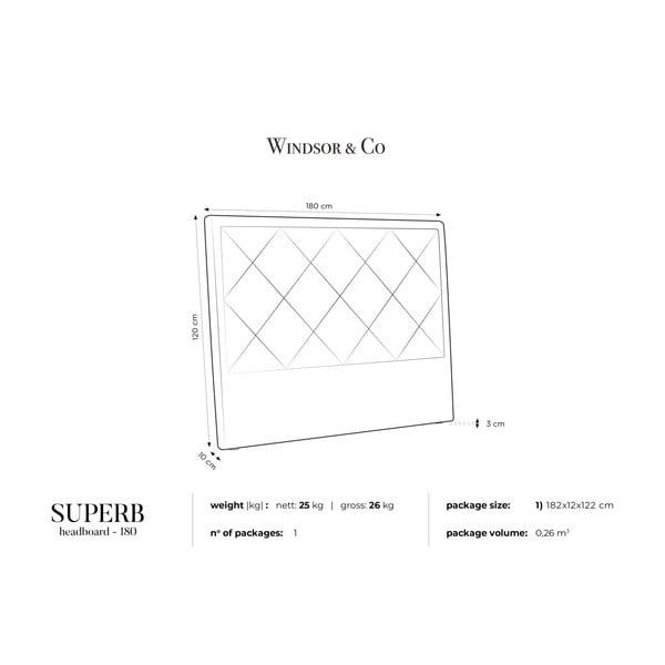 Jasnoszary zagłówek łóżka Windsor & Co Sofas Superb, 180x120 cm