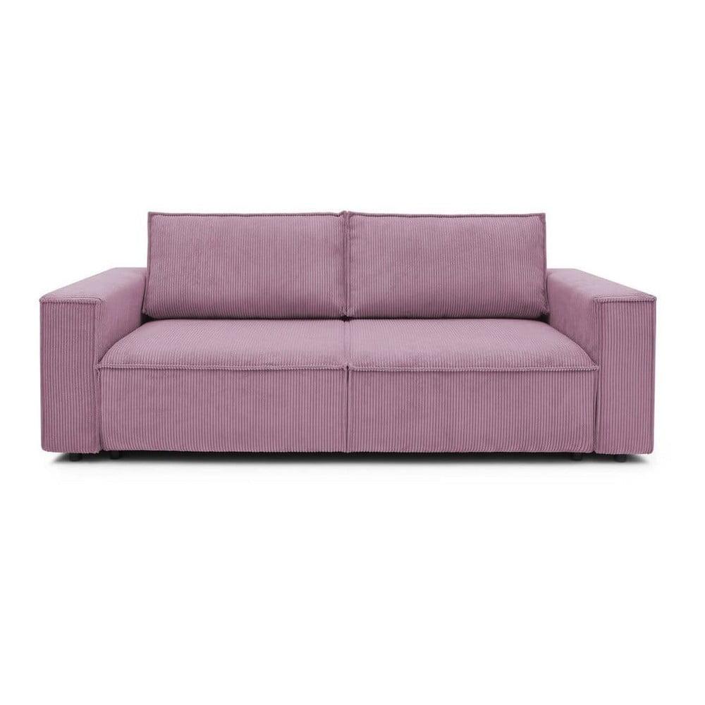 Różowa sztruksowa sofa rozkładana Bobochic Paris Nihad, 245 cm